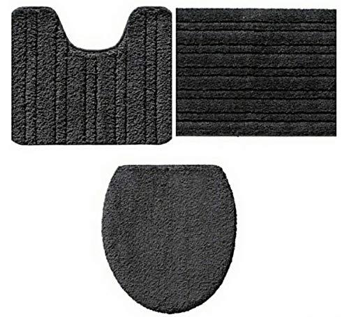Miomare - Set di tappetini da bagno, 3 pezzi, antiscivolo