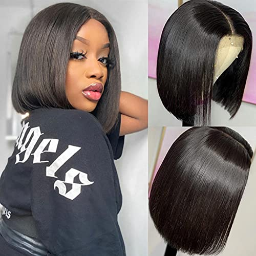 10 Inch Brazilian Virgin Straight Human Hair Wigs Short Bob Wigs for Black Women 4x4 T-Part Lace Closure Bob Wigs 150% Density Middle Part Pre Plucked with Baby Hair