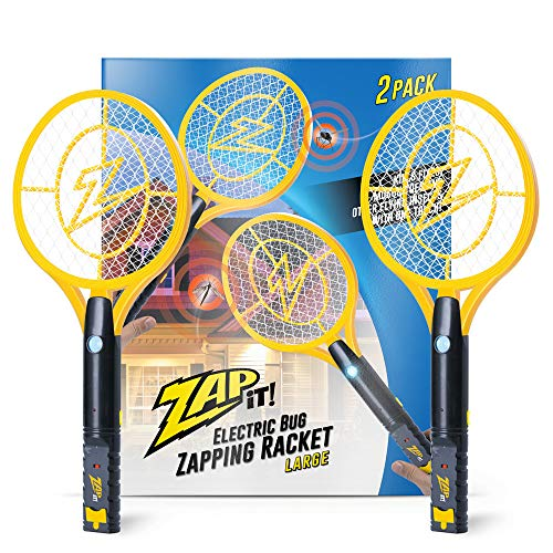 ZAP IT! Bug Zapper Twin-Pack Rechargeable Mosquito, Fly Killer and Bug Zapper Racket - 4,000 Volt - USB Charging, Super-Bright LED Light to Zap in The Dark - Safe to Touch (Large Twin, Yellow)