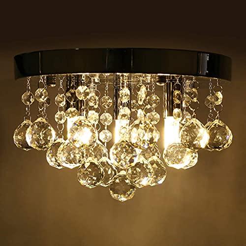 LYMHGHJ Lámpara de Techo Tipo candelabro de Cristal, 40w LED Moderno Gotas de Cristal Transparente Lámpara Colgante de Luces de Cuentas de Cristal, 25x25x15cm para Comedor, Dormitorio, Sala de Estar
