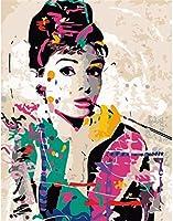 DMFNGJSD 数字油絵 フレーム付き 、数字キット塗り絵 手塗り DIY絵-きれいな女性-デジタル油絵 40x50 cm