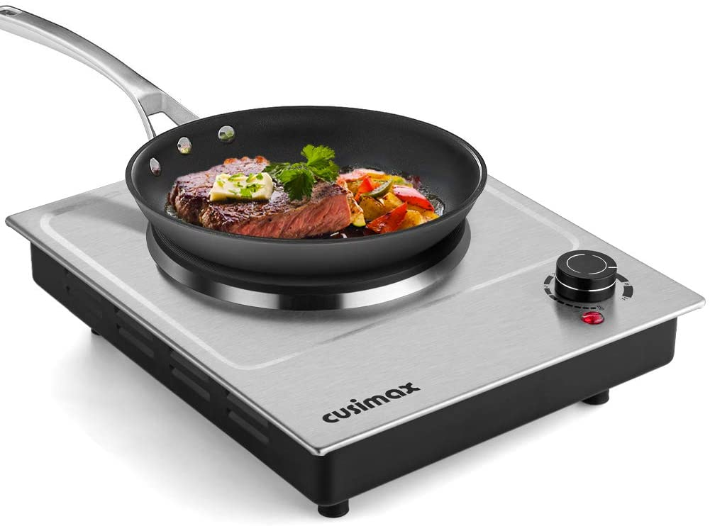 CUSIMAX 1500W Electric Hot Plate, Hot Plate for Cooking Electric Single Burner, Portable Countertop Burner Stainless Steel, Easy to Clean,CMHP-C150N
