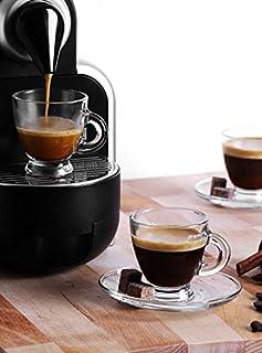 Sables & Reflets Set de 6 Tasses et 6 sous Tasses en Verres - Tasses à Café, Cappuccino, Cafe Latte, Thé, Chocolat