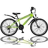 Talson 26 Zoll Mountainbike Fahrrad mit Gabelfederung und Beleuchtung mit 21-Gang Shimano in Grün