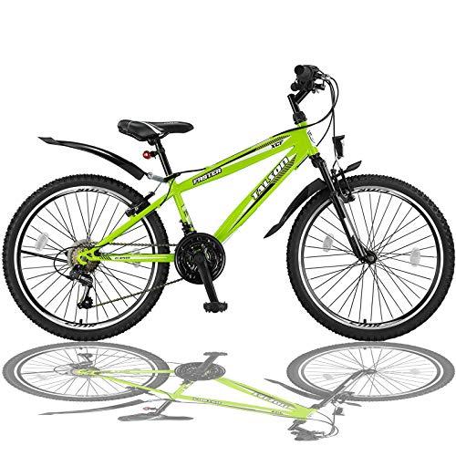 Talson 24 Zoll Mountainbike Fahrrad mit Gabelfederung & Beleuchtung 21-Gang FSTR Grün
