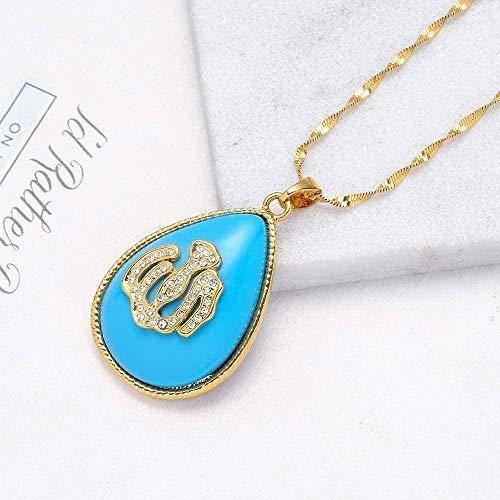 LBBYMX Co.,ltd Collar Azul Lira Collar Alla Turco para Mujeres/niñas joyería árabe Tradicional nación Colgante iraquí musulmán Turquía 60cm Collar