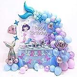 teyiwei Decoración de fiesta sirena para niñas, con texto en inglés 'Alles Gute zum Geburtstagball', globos látex, accesorios niños, cumpleaños, baby shower, temática del océano