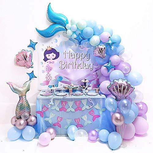 """teyiwei Decoración de fiesta sirena para niñas, con texto en inglés """"Alles Gute zum Geburtstagball"""", globos látex, accesorios niños, cumpleaños, baby shower, temática del océano"""