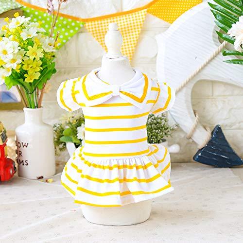 EgBert Bow Tie Princess Striped Dog Dress Spring Summer Breathable Pet Girls Rock Puppy Cat Kleider Kostüme Für Kleine Hunde - Gelb