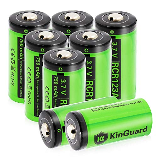 RCR123A Rechargeable Batteries KinGuard 8 batteries  3.7V 750mAh CR123A Li-ion Battery for Arlo Camera VMC3030 VMK3200 VMS3330 3430 3530 Security System Flashlight