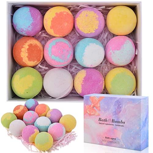ShinePick 12 Piezas Bombas de Baño,Set Bolas de Baño con Aceites Esenciales,Spa Baño de Burbujas para Hidratar la Piel Seca,Regalo de Cumpleaños y Navidad para Mujeres, Niñas, Niños
