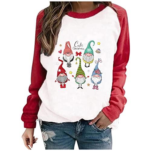 Shopler Sudadera de Navidad para mujer, casual, divertida, con estampado de Navidad, suéter de costura, cuello redondo, manga larga, suéter deportivo suelto, verde, M