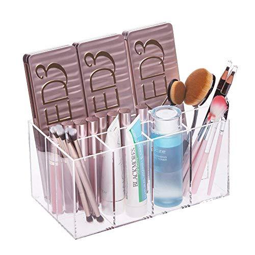 Choice Fun Acrylic Makeup Storage Palette Organizer Makeup Brush Holder Vanity Tray 7 Deep Compartments 8.9 L x 5.1 W x 4.4 H