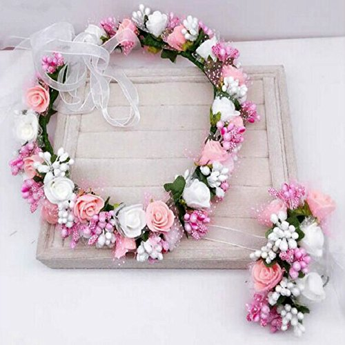 StageOnline Blumen Kranz Krone Haarband Girlande Floral Handgelenk Band Set für Hochzeit für Frauen Mädchen