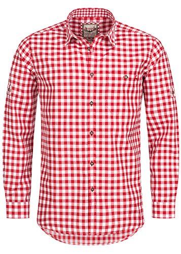 Stockerpoint Trachtenhemd OC-Franzl   kariert   modern Fit, XL, Rot