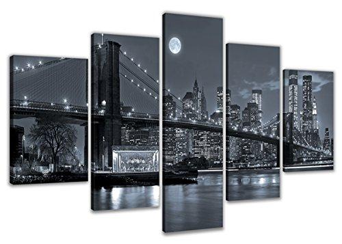 200 x 100 cm ! Bild auf Leinwand New York Nr 6314 fertig gerahmte Bilder 5 Teile Marke original Visario