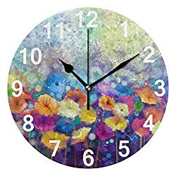 ZZKKO Colorful Floral Wall Clock, Silent Non Ticking Battery Operated Easy to Read Decorative Wall Clock for Kitchen Bedroom Bathroom Living Room Classroom