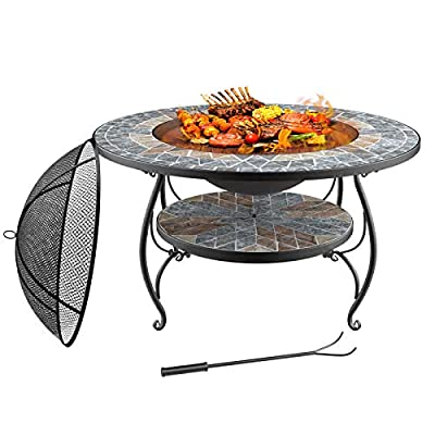 """Mecor 3-in-1 Outdoor Fire Pit with Cooking Grate, 32"""" Mosaic Fire Pits Outdoor Wood Burning Steel BBQ Grill Firepit Bowl with Spark Screen Cover Log Grate Fire Poker for Backyard Bonfire Patio,Grey"""