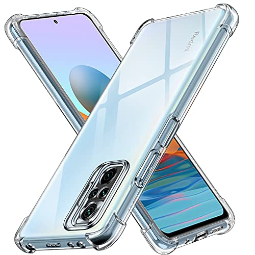 ivoler Funda para Xiaomi Redmi Note 10 Pro, Carcasa Protectora Antigolpes Transparente con Cojín Esquina Parachoques, Suave TPU Silicona Caso Delgada Anti-Choques Case