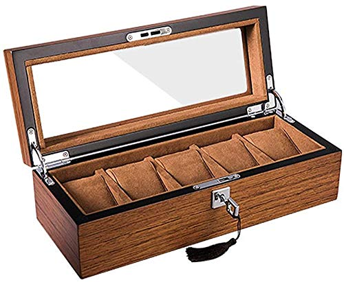 Suytan Caja de Reloj 5 Ranuras Exhibidores de Reloj de Madera Cubierta de Caja de Alenamiento con Cerradura Caja de Reloj de Vidrio Marrón Tapa de Vidrio,Marrón-37.5X21.5X9.5Cm