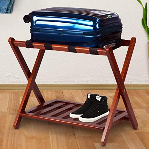 MISC Walnut Brown Hotel Luggage Rack for Guest Room Folding Suitcase Rack Collapsible Carry On Holder Bedroom, Sturdy Wooden