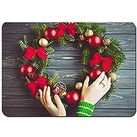 バスマット 玄関マット 足ふきマット,美しいクリスマスリースの女性の手の概念,滑り止め ソフトタッチ 丸洗い 洗濯 台所 脱衣場 キッチン 玄関やわらかマット 50 x 80cm