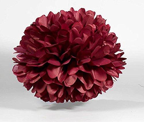 10PCS 8inch 10inch Paper Pom Poms Decorative Paper Flower Hanging Rose Flower Balls DIY Paper Handmade Craft for Wedding,Baby Shower,Birthday,Party Decorations,Home Decor (10pcs, Burgundy)