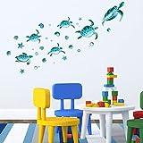 Calcomanía Transparente de Tortuga Marina Azul Decoración de...