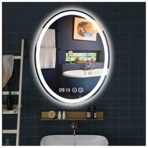 AYYEBO Oval Espejo de Baño 500X700mm LED Iluminado HD Impermeable Bluetooth Smart Touch etc Multifuncional Espejo (Color : A)