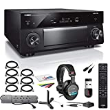 Yamaha AVENTAGE RX-A3080 9.2-Channel Network A/V Receiver (RX-A3080BL) + MDR-7506 Headphones + 12 Outlet Surge Protector + 32GB USB Stick + Toslink to Toslink Optical Audio Cable + More (Renewed)