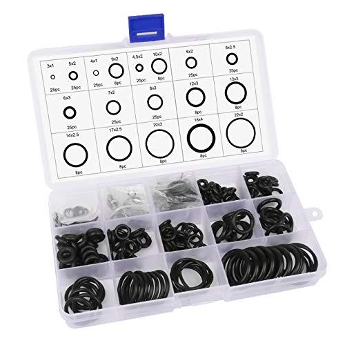 Qliver 297 Stück O Ringe Sortiment Dichtungsringe Set Dichtringe Gummi Dichtungsgummi 18 Verschiedene Sortiment mit Durchmesser 3-22mm Gummiringe