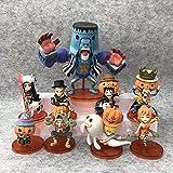 SZSOZD 9 unids/Set Anime One Piece WFC Halloween Luffy Sanji Chopper Nami Pumpkin Figuras de Acción ...