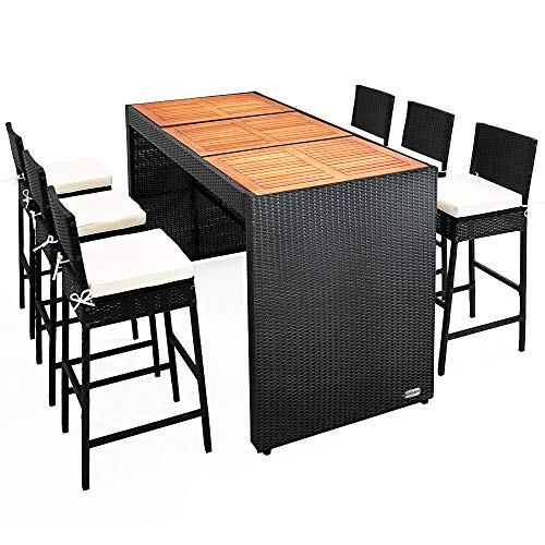 Casaria Poly Rattan Garten Bar Set 6 Barhocker mit Auflagen XL Bartisch Akazie Holz Sitzgruppe Gartenmöbel Outdoor Set