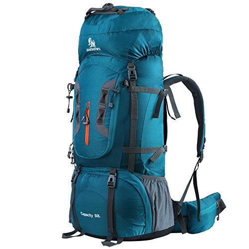 HWJIANFENG Trekkingrucksack Wanderrucksack - Große Kapazität 80L - Ultraleicht, strapzierfähig - Perfekt für Camping/Wandern/Bergsteigen/Reisen, Grün