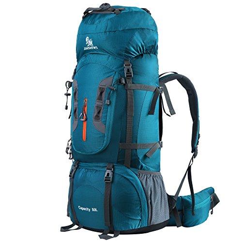 HWJIANFENG Zaino da Montagna in Nylon 80L Antipioggia Zaini da Escursione Traspirante Zaino da Trekking con Grande capacità (Verde)