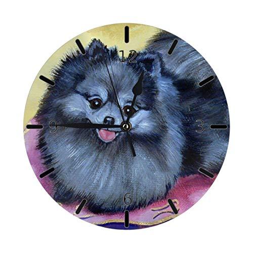 Eileen Max Orologio da Parete Pomeranian Cute Dog White Mom Funny Mini a Tema Stampato Design Pattern