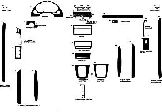 Rvinyl Rdash Dash Kit Decal Trim for Audi A4 2003-2006 (Convertible) - Matte (Black)