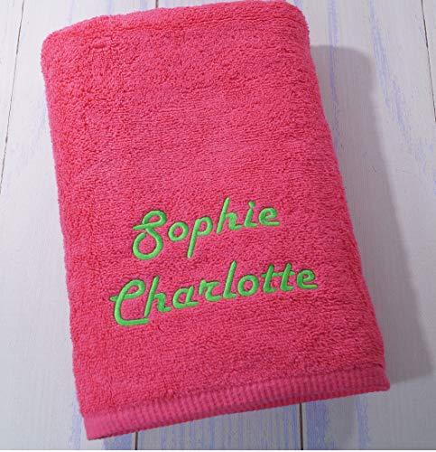 Duschtuch mit Namen bestickt Handtuch Geschenk Badetuch 500 g/m2 (70 x 140 cm, Warm-Pink) (140224)