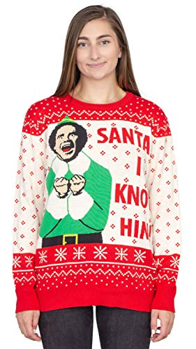 Ripple Junction Elf Buddy Santa I Know Him Pattern Ugly Christmas Sweater (Adult Large)