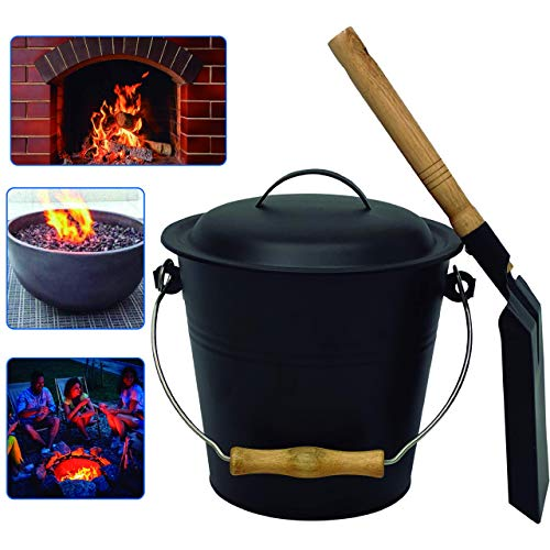 Includes Bucket 3 Piece Stainless Steel-Fireplace Tool Set with Bucket Shovel Broom and Poker