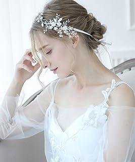 FXmimior - Fascia per capelli fatta a mano, con strass e perle, ideale per matrimoni, feste, serate