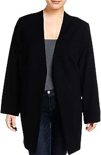 Womens Plus Open Front Midi Jacket Black 24W