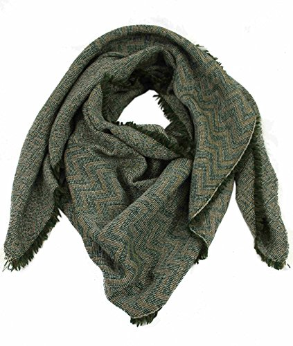 Preisvergleich Produktbild Rotfuchs Schal Webschal Zick Zack modisch grün 100% Wolle (Merino) R-644
