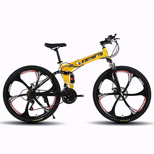 MoMi 6-Knife Wheel Folding Mountain Bike 24/26 inch high Carbon Steel 24/27/30 Speed disc Brake Speed Male and Female Bicycle,Yellow,24in/21speed
