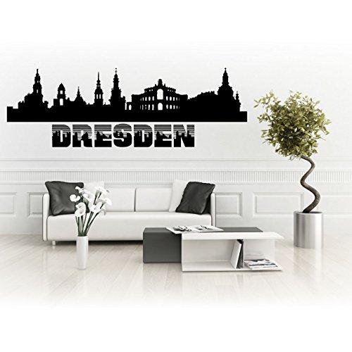 Skyline Autoaufkleber oder Wandsticker von Dresden Silhouette Stadt | SKD015