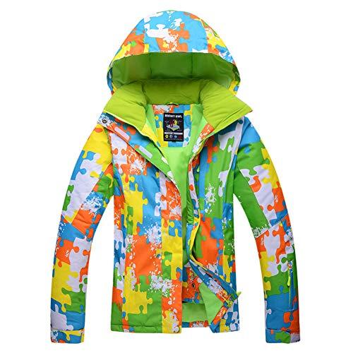 Imprimé coloré Plein air Vestes de Ski pour Les Femmes, Coupe-Vent Manteau d'Hiver Snowboard Costume de Ski SNOWEAR Veste de Montagne Coquille imperméable à l'Eau -Vert XXL