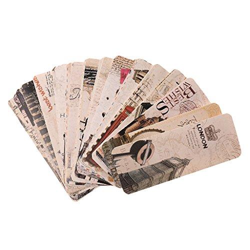 Sharplace 30 pezzi Segnalibro in Tutto Mondo Scenario Carta Paesaggio Etichetta Divisori per Schedario Timbri