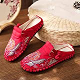 N&W Flower Embroidered Women Canvas Espadrilles Flat Slippers Bohemian Retro Ladies Comfortable Close Toe Summer Shoes (Color : Navy Shoe Size : 5 UK)