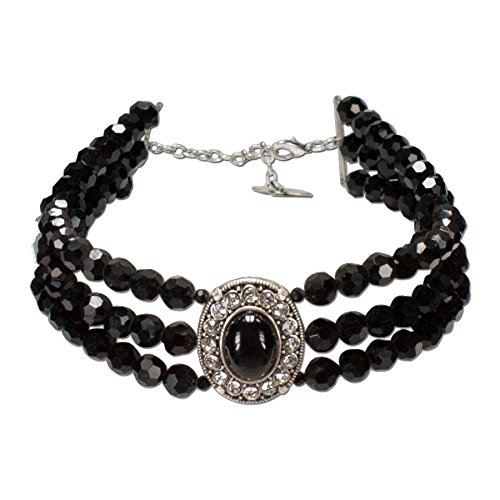 Alpenflüstern Perlen-Collier Sissi - Trachtenkette Damen-Trachtenschmuck Dirndlkette schwarz DHK087