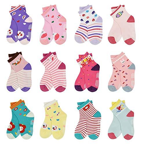 Toddler Socks SkiBeaut 12 Pairs Non Slip Skid Socks For Kids Baby Girls Boys Grips Cotton Crew Socks For 5-7 Years Old…